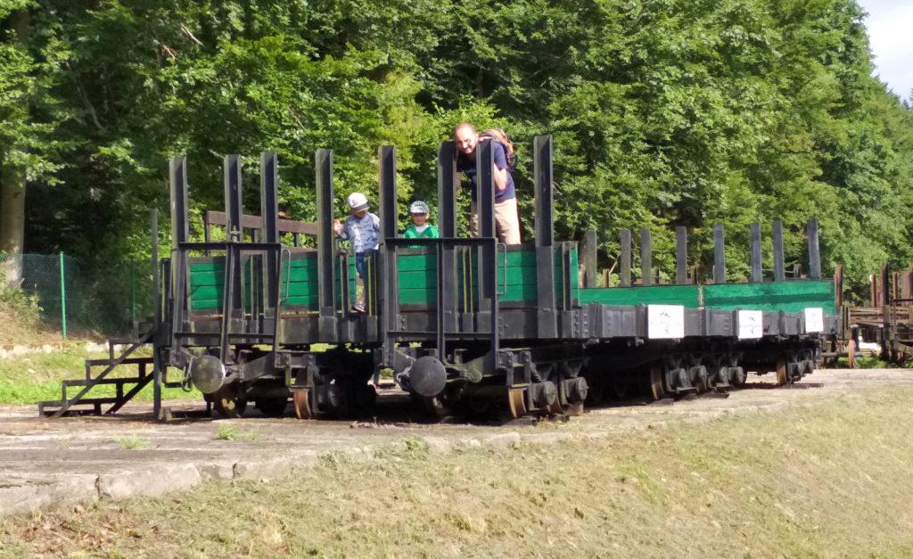Złączone wagony towarowe pełnią najprawdopodobniej funkcje sceny podczas lokalnych imprez