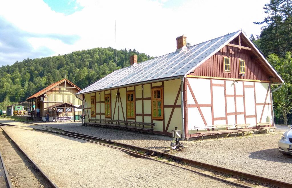 Na pierwszym planie budynek stacyjny a zaraz za nim informacja i biuro